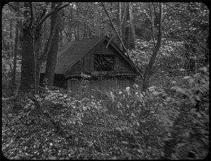 This is a clip from the early parts of <i>The Blair Witch Project</i> when they pass a small building on their way to the woods.