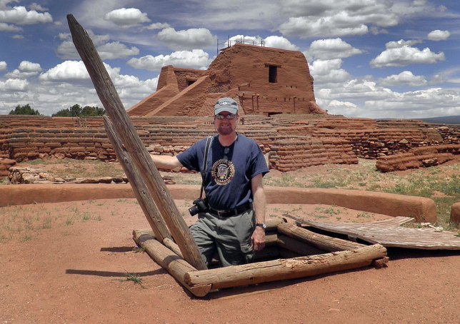 I asked another visitor to photograph me climbing out of this kiva at Pecos NHP.