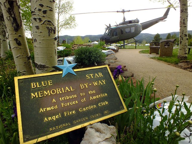 This view of the Vietnam Veterans Memorial State Park shows the Huey helicopter on display.