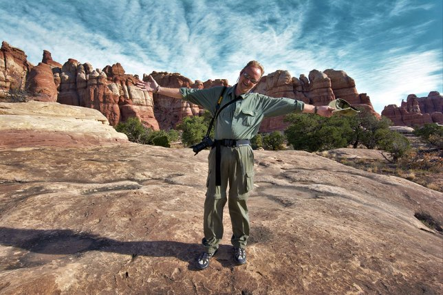 Your host strikes an elated pose as we hike the Chesler Park Trail at Canyonlands.