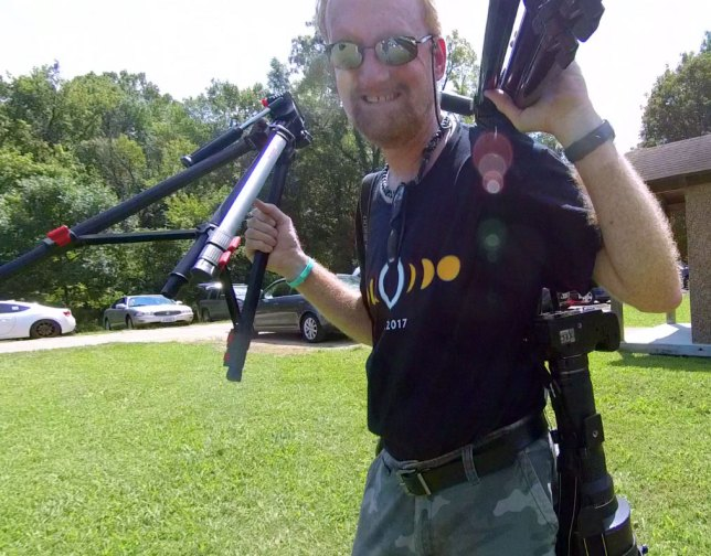 With commemorative t-shirt on, your host gathers his gear to photograph the solar eclipse.