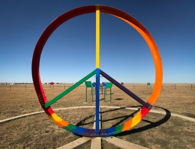 "The ""peace park"" is an art installation at around mile marker 84 along Interstate 40 in the Texas panhandle."