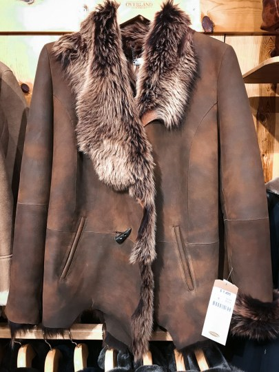 I stepped into a leather store on The Plaza and spotted this beautiful coat I thought would look amazing on Abby. Asking price? $1495.