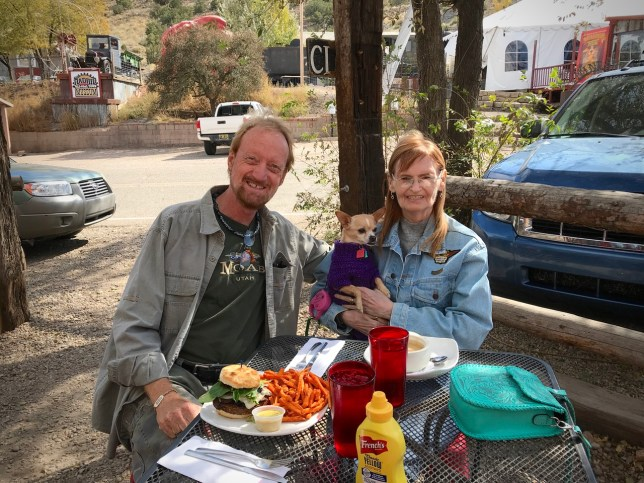 Abby and I had lunch at The Hollar in Madrid, New Mexico, a town mostly dedicated to arts and crafts, and being pet, especially dog, friendly. We sat in the cool sunshine for over an hour, both of us thinking we might like to live there some day.