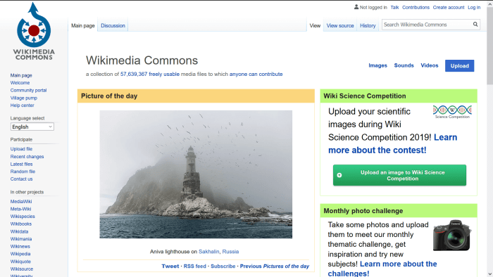 screenshot of the Wiki Commons website