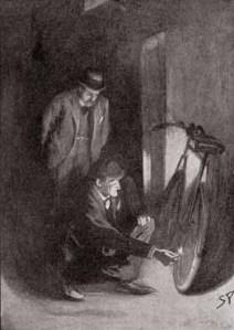 Sherlock Holmes and Watson illustration.