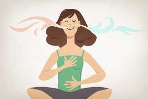 Illustration of woman breathing