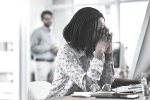 Woman feeling stressed.
