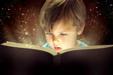 Young boy reading a book.