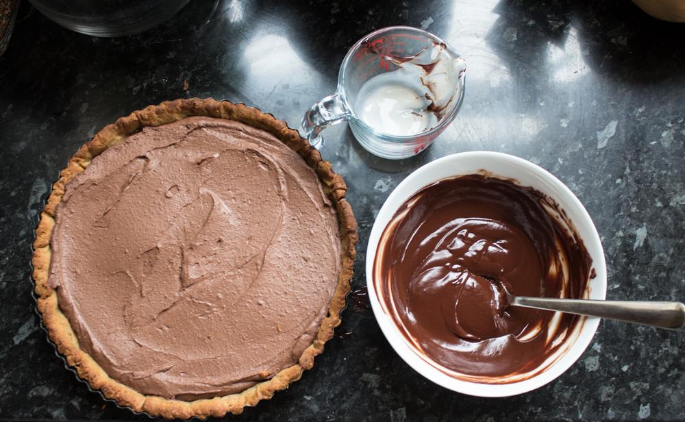 vegan chocolate tart filling and topping