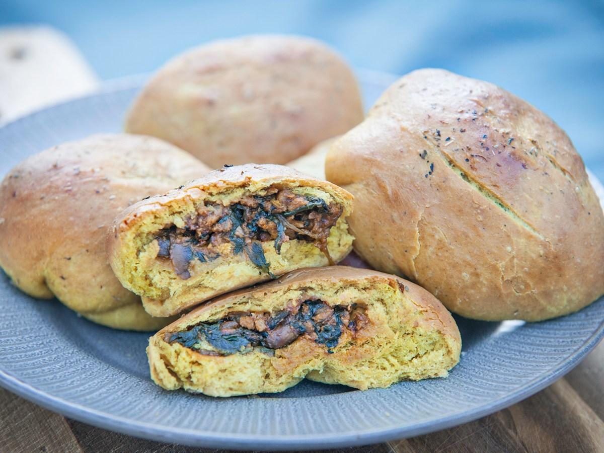 stuffed vegan naan bread
