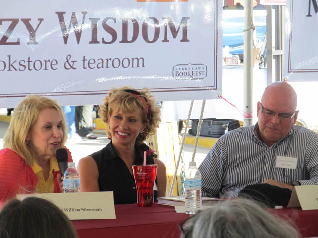 [Sue William Silverman cracks up me & Linda Hundt, Kerrytown Book Festival.]