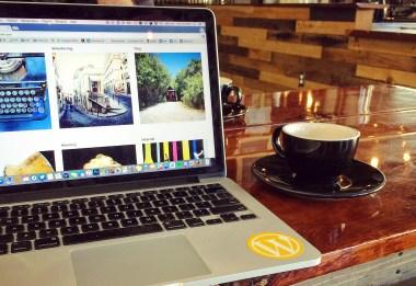 Cheri blog tinkering on laptop