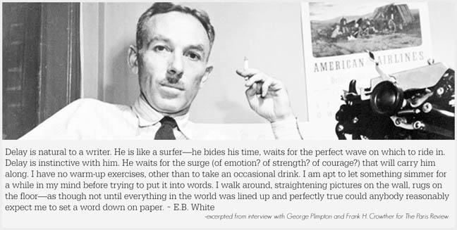 E.B. White on procrastination