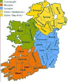 Ireland provine & County Map