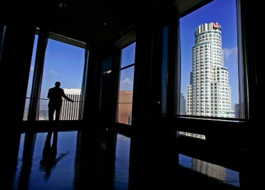 Kent Handleman in the former Arco executive offices on the 51st (top) floor of the City National Plaza building in downtown Los Angeles Thursday October 04, 2007. Handleman, Senior Vice President of Thomas Properties Group is a landlord at one of downtown's largest office complexes that is finally starting to fill up. The story is about how the downtown office market is starting to turn in landlords favor after many years of favoring tenants.