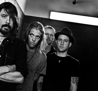 The Foo Fghters backstage during KROQ's LA Invasion at the Home Depot Center in Carson Saturday September 15, 2007. From left; Dave Grohl, Taylor Hawkins, Nate Mendel and Chris Shiflett.