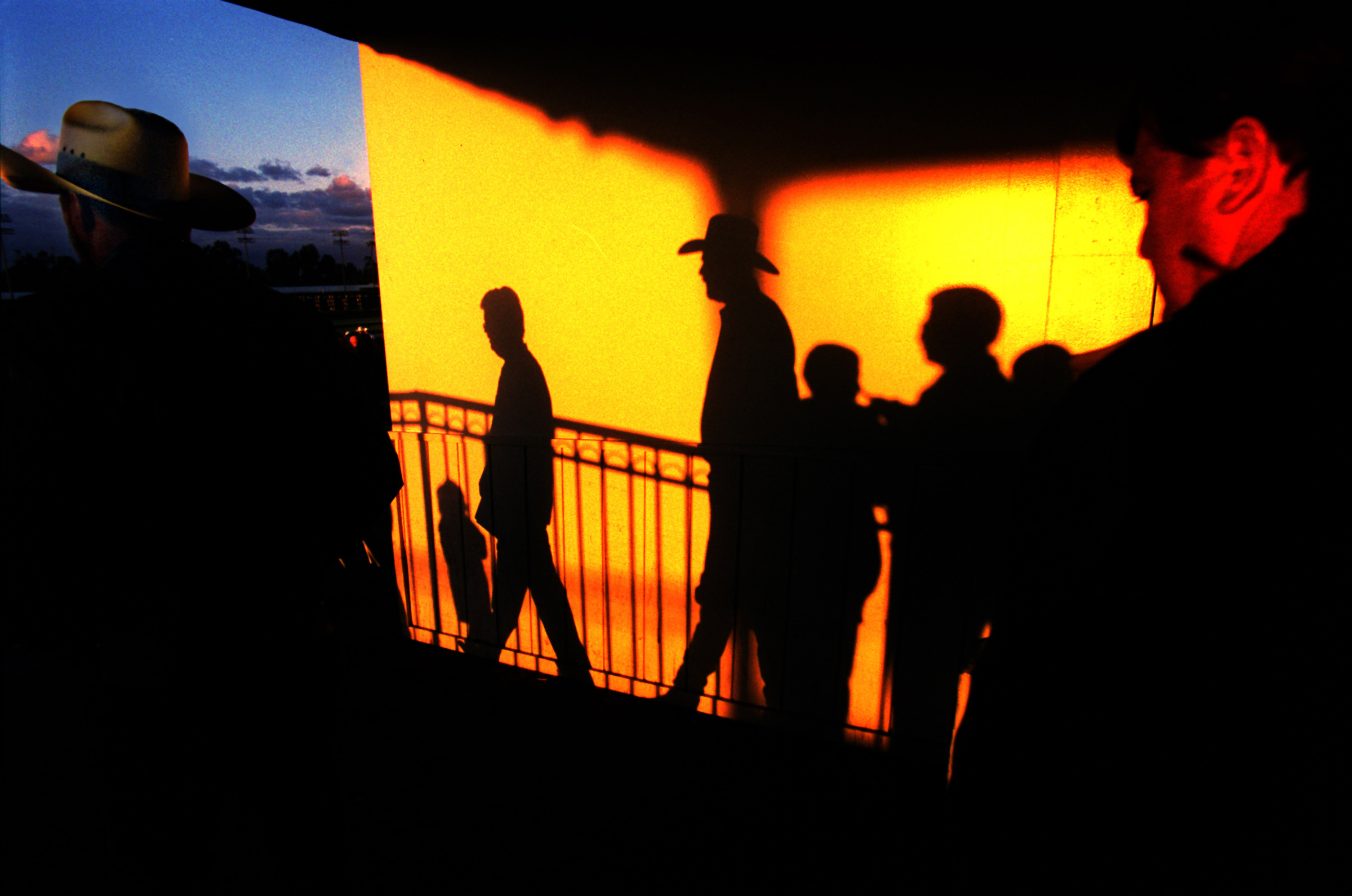 Race fans from all walks of life - some sporting cowboy hats - are caputred as their shadows splash on a wall as the late afternoon sun sets before the first Friday night post at Los Alamitos race track, recently in Los Alamitos.