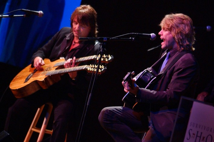 Jon Bon Jovi, right, and Richie Sambora jam during the Shoah Foundation's Ambassadors for Humanity event, Wednesday evening at Universal Studios.