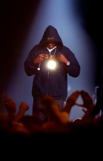 Jay-Z shines as he teams up with Linkin Park during the ÒMUSIC FOR RELIEF: REBUILDING SOUTH ASIAÓ BENEFIT SHOW at The Pond of Anaheim, Friday night in Anaheim.