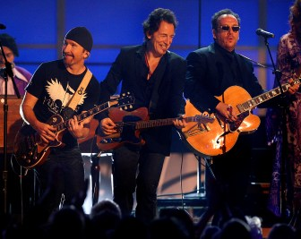 L-R: Allen Toussaint, Dr. John, The Edge, Bruce Springsteen, Elvis Costello and Yolanda Adams performed a tribute to New Orleans at the 48th Annual Grammy Awards at the Staples Center in Los Angeles, California on Wednesday February 08, 2006. -- PHOTO CREDIT: Richard Hartog/Los Angeles Times