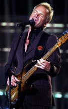 """46TH ANNUAL GRAMMY AWARDS -- Sting performs """"I Saw Her Standing There,"""" in a tribute to the Beatles during the 46th Annual Grammy Awards show, at the Staples Center in Los Angeles, Calif., Sunday, Feb. 8, 2004. LOS ANGELES TIMES PHOTO BY RICHARD HARTOG"""
