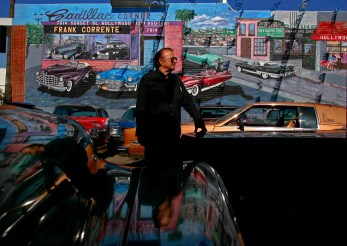 HOLLYWOOD CA - May 15, 2008: Surrounded by cars and color, owner Frank Corrente stands at his Cadillac Corner vintage car lot in Hollywood, Thursday, May 15, 2008. LA officials have ordered Corrente to come up to code or close after 21 years. It turns out Corrente never got a permit when he opened. He says his place is a tourist attraction and deserves a break from the city. (Richard Hartog/Los Angeles Times).