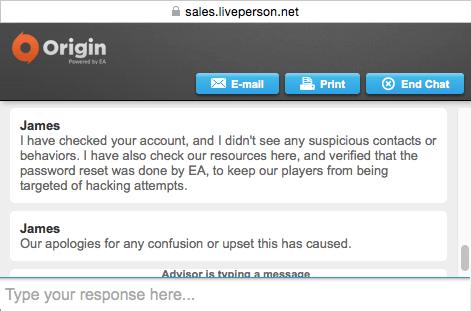 Origin Account Password Reset