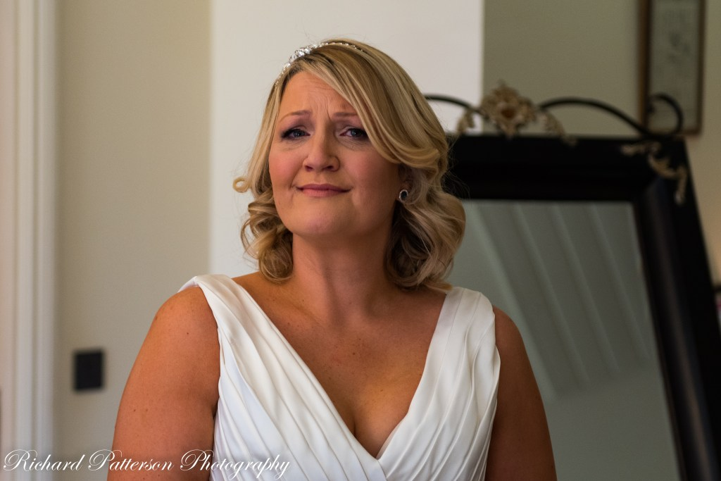 Orsett Hall Essex Wedding Photographer, Orsett Hall Essex Wedding Photography, Orsett Hall Essex Wedding Venue, Orsett Hall Wedding Photos, Bride just after looking in the mirror after putting her bridal gown on, on her big day