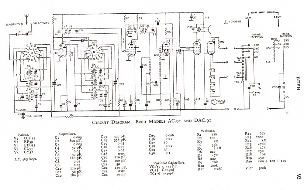 medium resolution of bush ac91 schematic