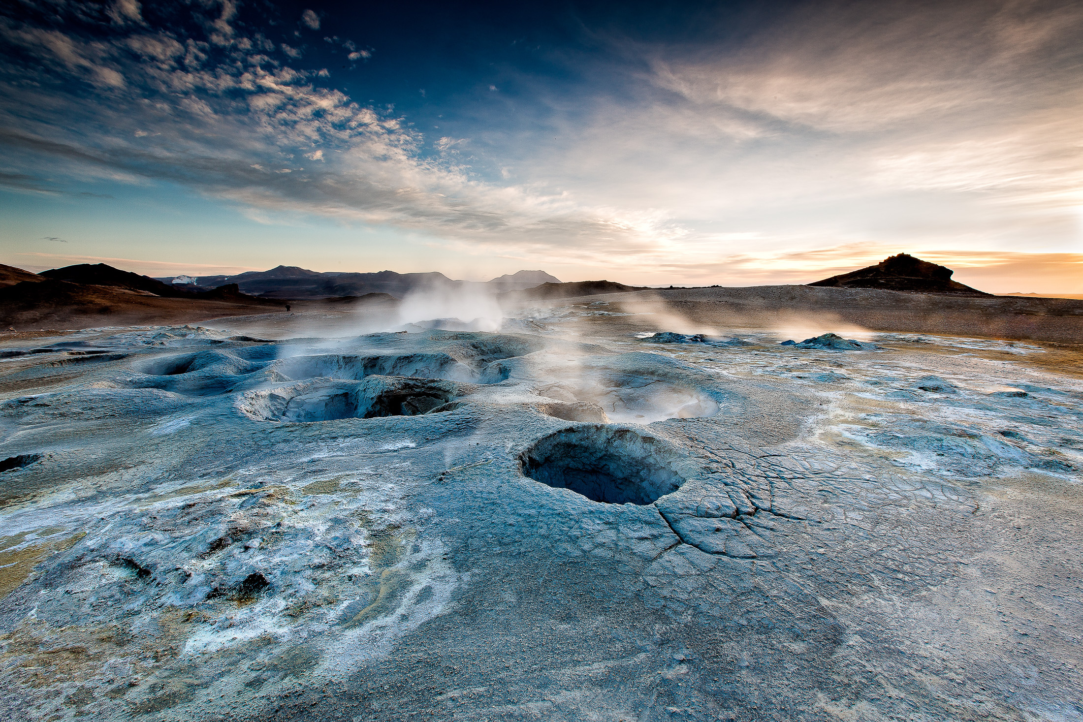 thermal steam in the dawn light