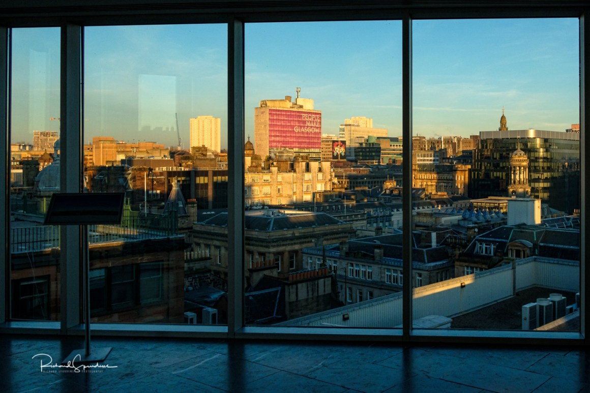 window views of glasgow city scape