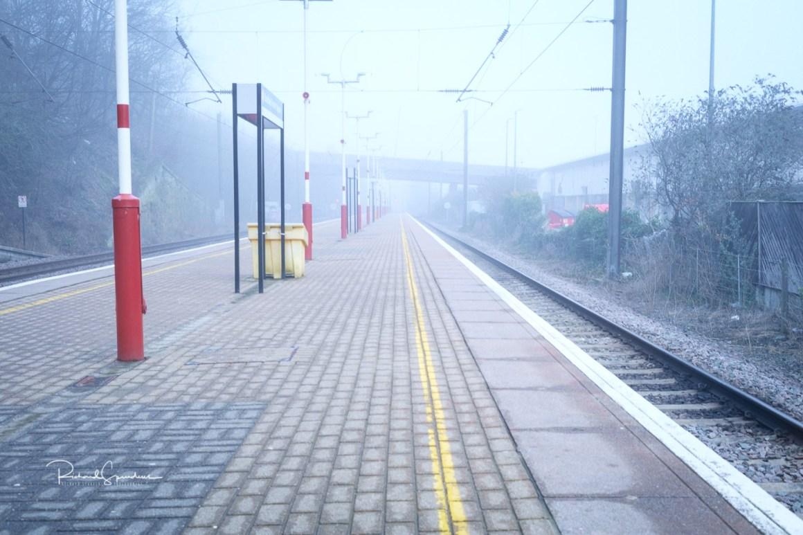 image shot at bradford foster square station on a mist april morning
