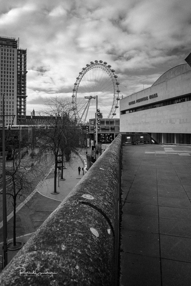 using the lead lines of the top of a wall to take you towards the royal festival hall and the london eye beyond it from my blog about A visit to the Haywood Gallery at the Southbank center