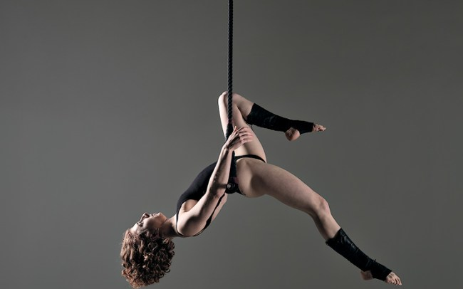 colour image of trapeze artist and model allegra
