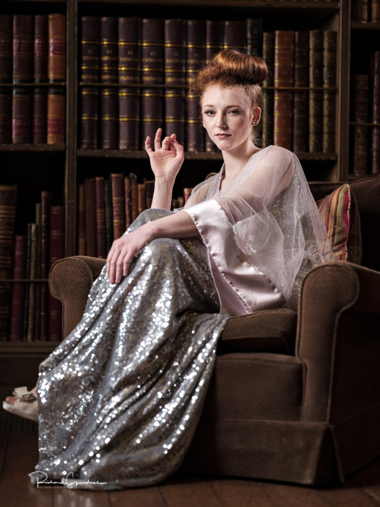 colour image from a fashion shoot at western park featuring the designs of Dress designer bowen-dryden