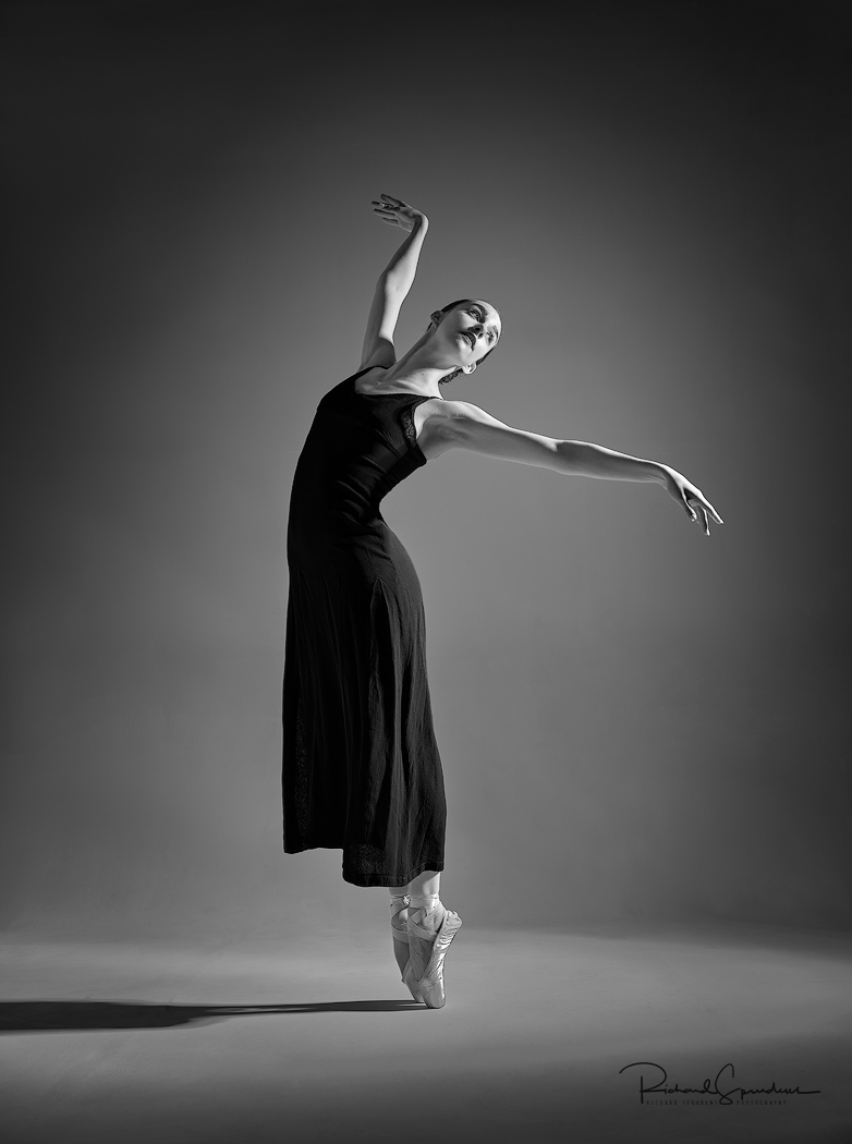 monochrome image for print of the month featuring dancer Erica M