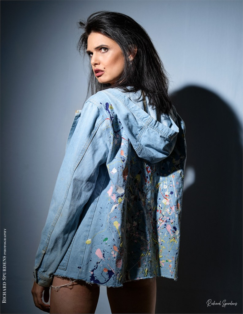 Fashion Photography - Fashion Photographer - colour image of model wearing a vintage blue demin hoody