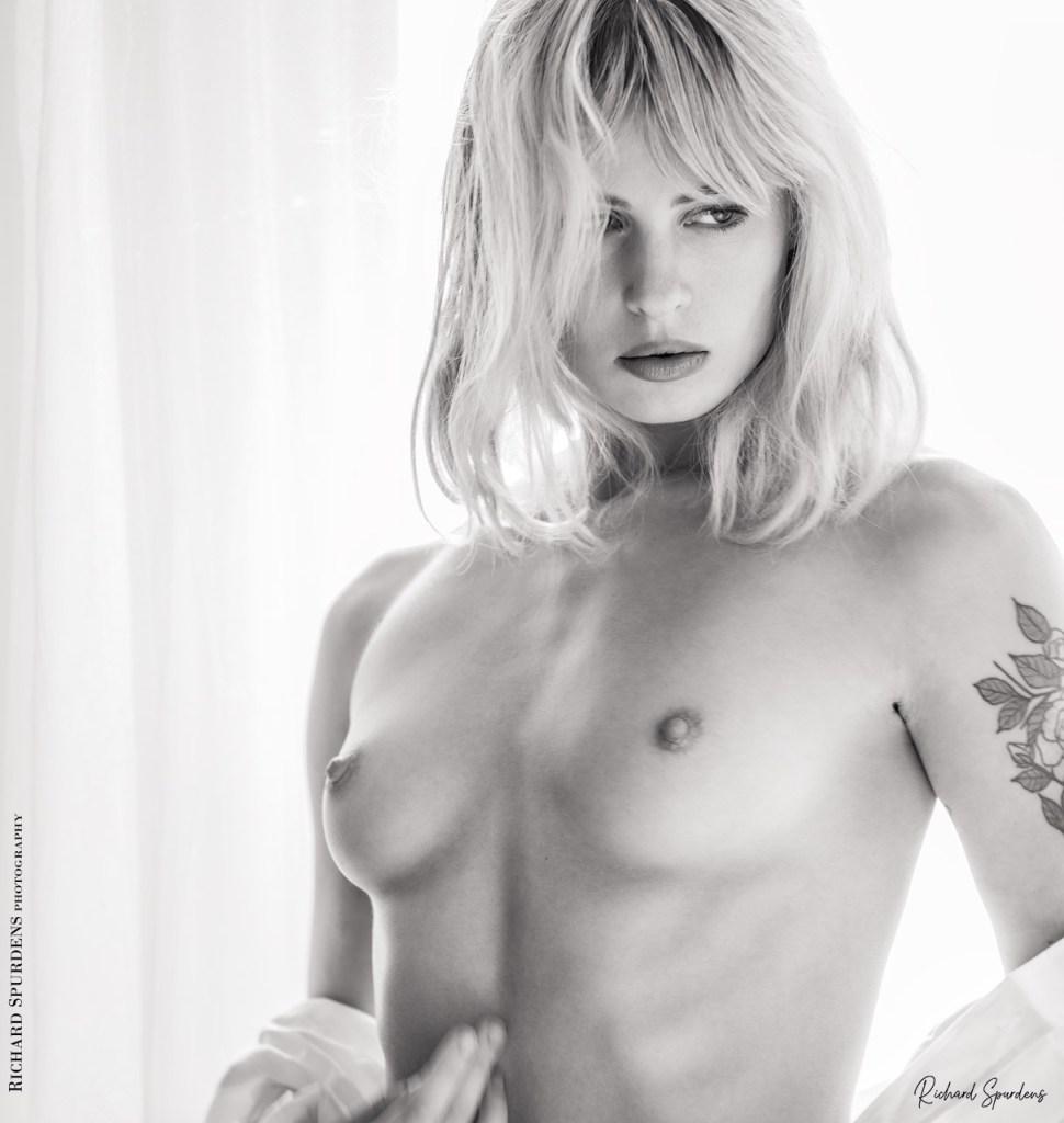 Fine Art Nude Photography - Fine Art Nude Photographer - pippa white shirt white light