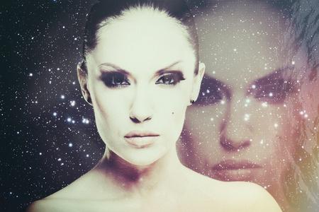 woman against star field