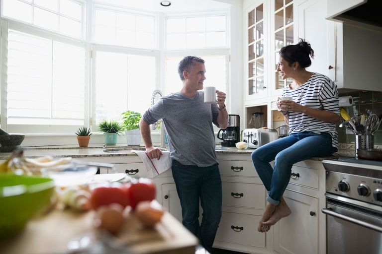 Couple at home in their domicile