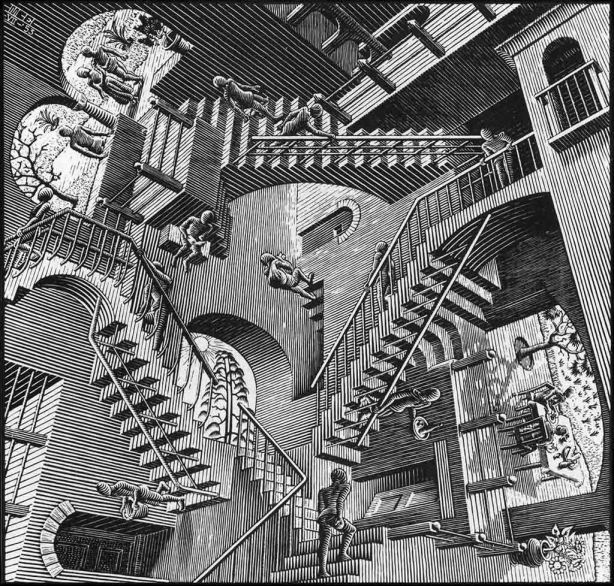 Relativity July 1953 Woodcut 28.2x29.4cm