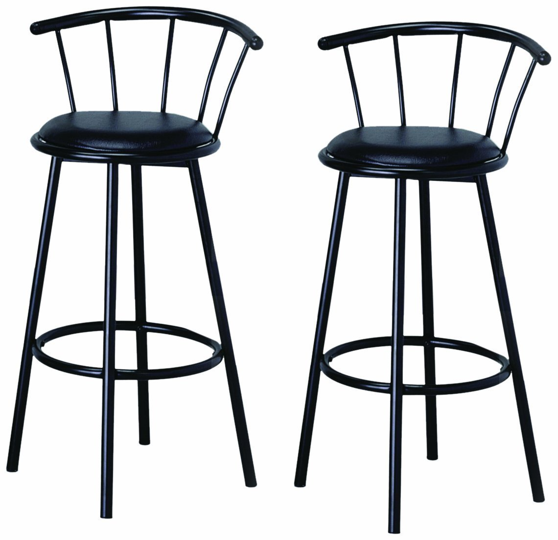 Bar Stool Chair 29 Inch Black Finish Swivel Dining Bar Stool Chairs Set