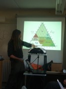 Stephan explains soil composition. We used a simplified version of this to analyse our own soil samples