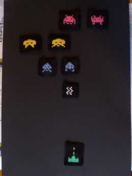 Space Invader cross stitch magnets