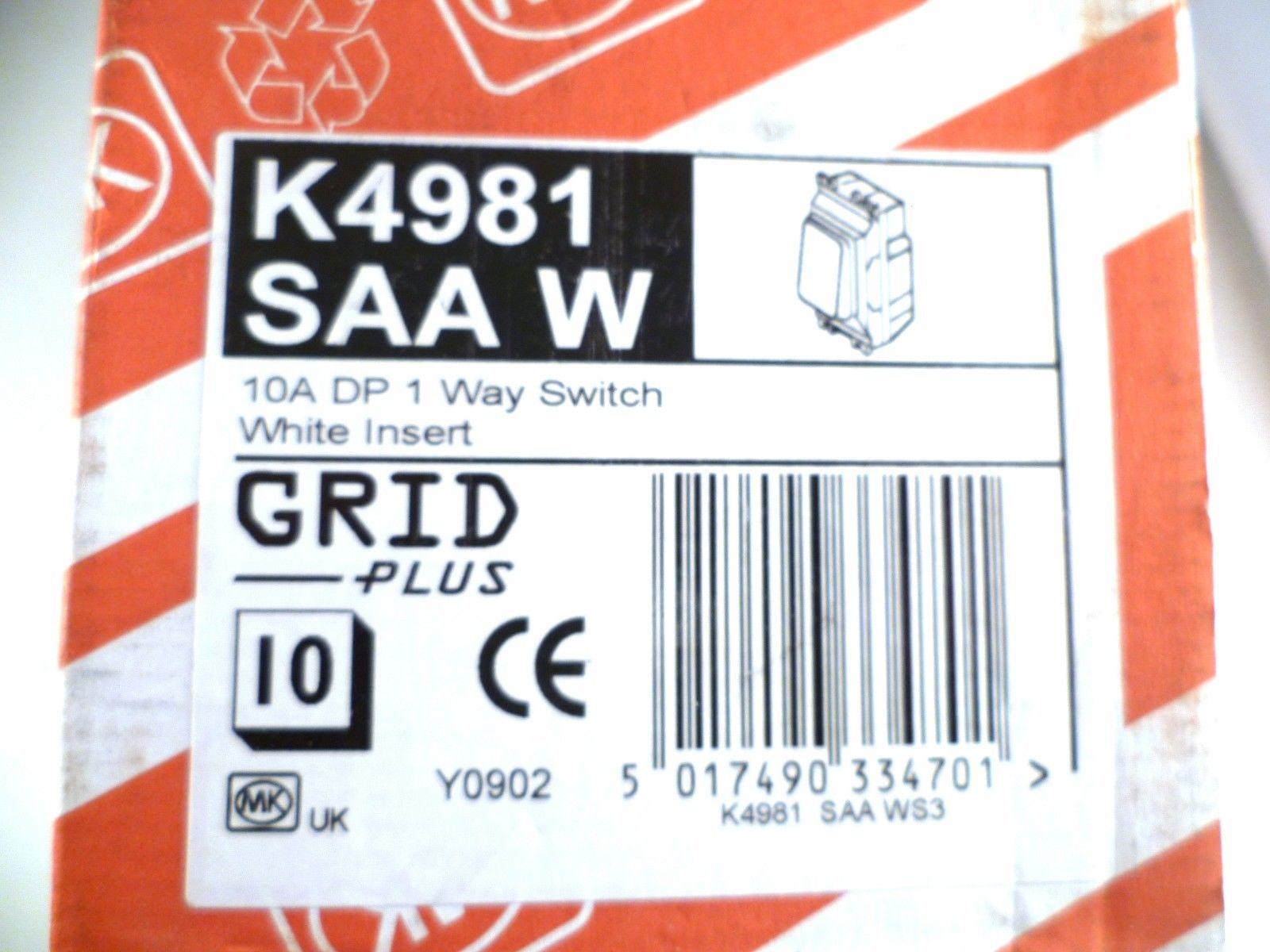 MK GRID PLUS 10A DP 1-WAY SWITCH K4981 WHI