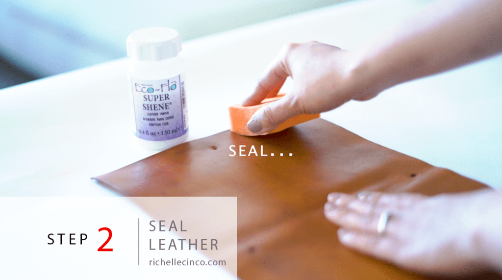 Step 2 in Easy DIY Refillable Leather Planner: Apply seal to protect there leather's finish using straight strokes.