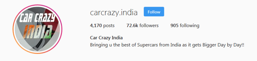 Car Crazy India Instagram