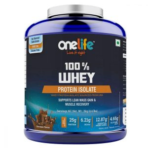 Onelife 100 Whey Protein Isolate Microfiltered Chocolate Flavour 2Kg Veg Sourced from USA With Digestive enzyme No Banned Substance GMOFree GlutenFree Muscle building  Muscle Recovery  whey 2kg chocolate front min