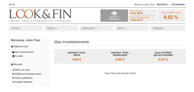 lookandfin looketfin crowdfunding main menu Belgian crowdlending